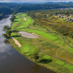 aerial view of pete dye river golf course
